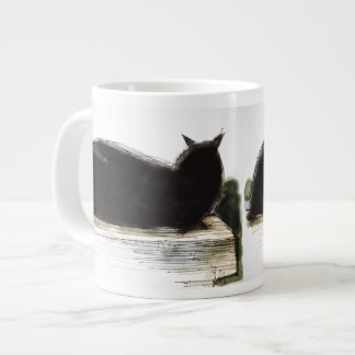Inky black cat rests on ledge large coffee mug