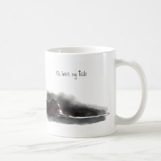 Inky black cat with long tail coffee mug