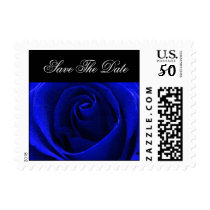 Inky Blue Rose Save the Date Postage Stamp