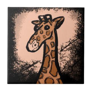 Inky Cartoon Giraffe Ceramic Tile