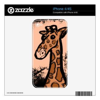 Inky Cartoon Giraffe iPhone 4 Decal