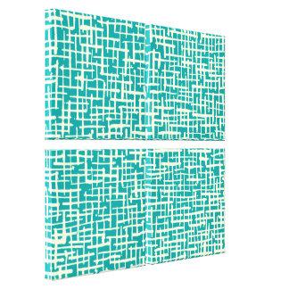 Inky Crossed Lines - Cream and Aqua Canvas Print