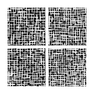 Inky Crossed Lines - White on Black Canvas Print