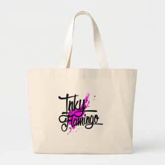 Inky Flamingo Large Tote Bag