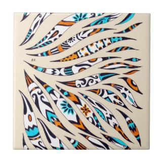 Inky Funky Pattern Art Beige Ceramic Tile