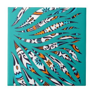 Inky Funky Pattern Art Teal Ceramic Tile