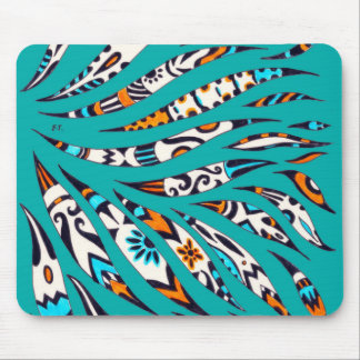 Inky Funky Pattern Art Teal Mouse Pad