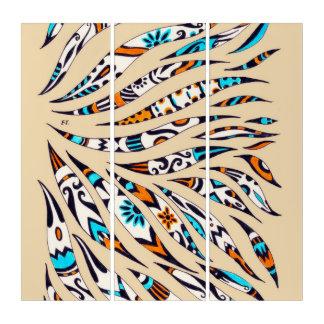 Inky Funky pattern beige Triptych