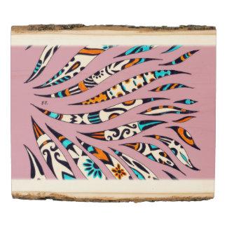 Inky Funky Pattern Scribble Pink Wood Panel