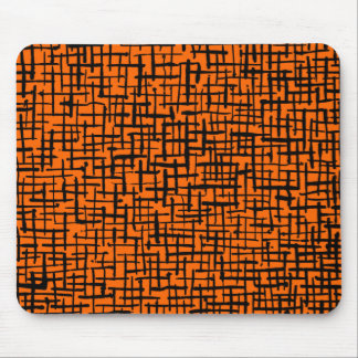 Inky Lines - Black on Orange Mouse Pad