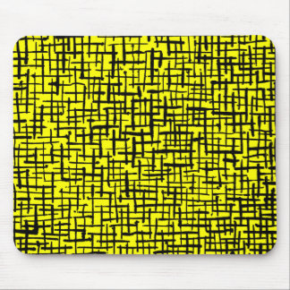 Inky Lines - Black on Yellow Mouse Pad