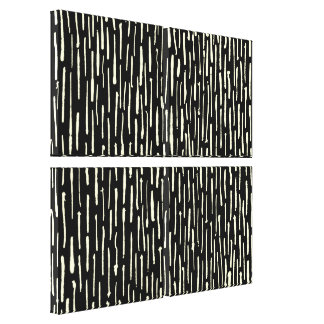 Inky Lines - Cream on Black Canvas Print