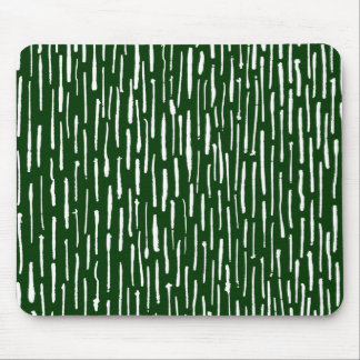 Inky Lines - White on Dark Green Mouse Pad