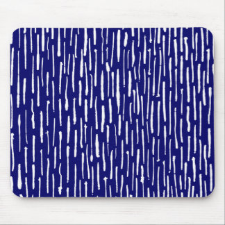 Inky Lines - White on Deep Navy Mouse Pad
