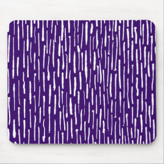 Inky Lines - White on Deep Purple Mouse Pad