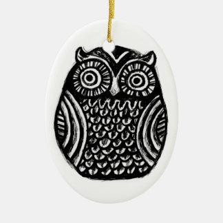 inky owl ornament.. halloween christmas custom Double-Sided oval ceramic christmas ornament