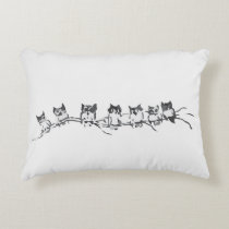 Inky owls on a branch design accent pillow
