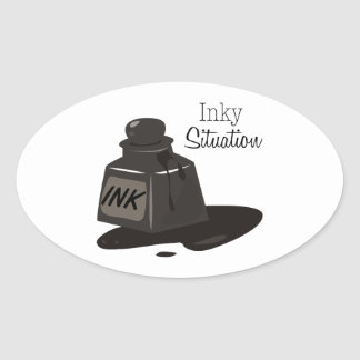 Inky Situation Oval Sticker