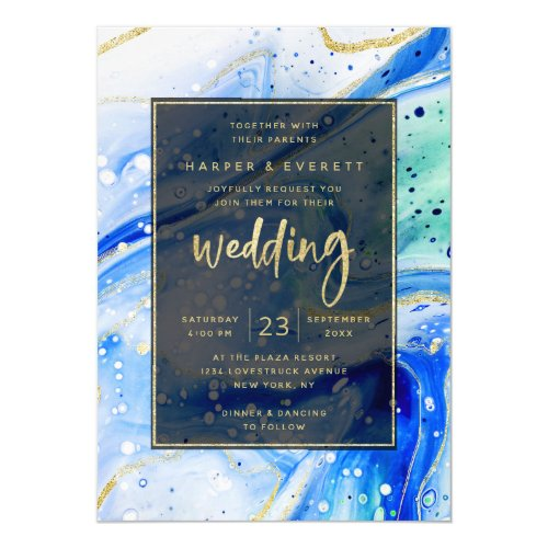 Inky Splash Blue Marble with Gold foil Wedding Invitation