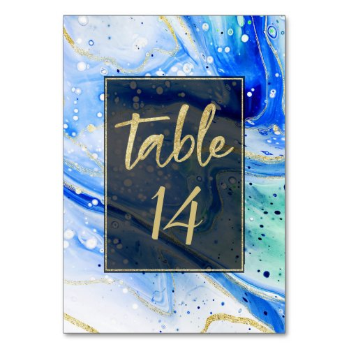 Inky Splash Blue Marble with Gold foil Wedding Table Number