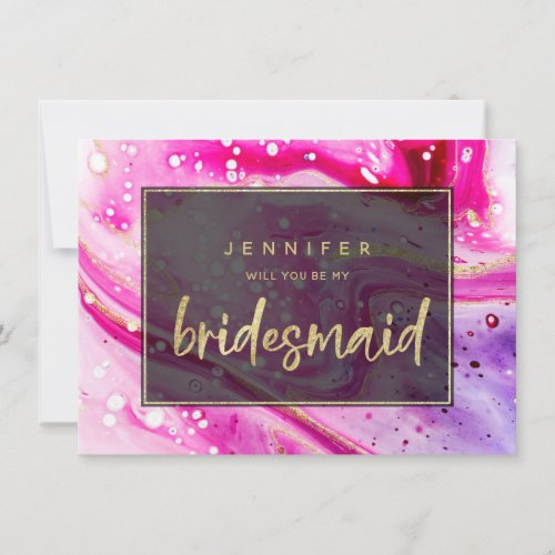 Inky Splash Pink Marble Gold Bridesmaid Proposal