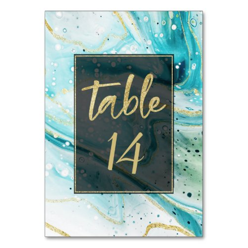 Inky Splash Teal Marble with Gold foil Wedding Table Number