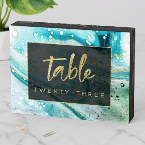 Inky Splash Teal Marble with Gold Table Number Wooden Box Sign