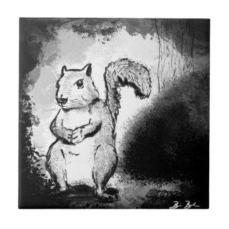 Inky Squirrel Ceramic Tile
