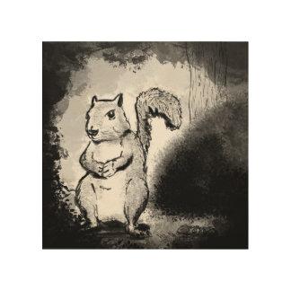Inky Squirrel Wood Art