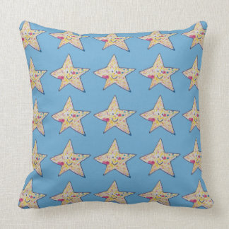 Inky star print in blue throw pillow