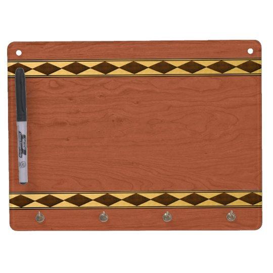 Inlaid Wood Design Dry Erase Board With Keychain Holder