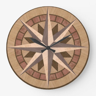 Inlaid wood mariners compass design large clock