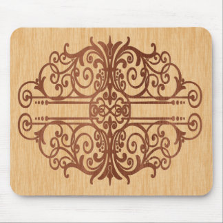 Inlaid Wood Victorian Scroll Dark in Light Mouse Pad