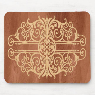 Inlaid Wood Victorian Scroll Light in Dark Mouse Pad