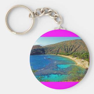 Inland, Hanauma Bay 4, Honolulu, Oahu Basic Round Button Keychain