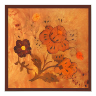 """Inlay Flowers Autumn Save the Date Card 5.25"""" Square Invitation Card"""