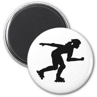 Inline skating girl 2 inch round magnet