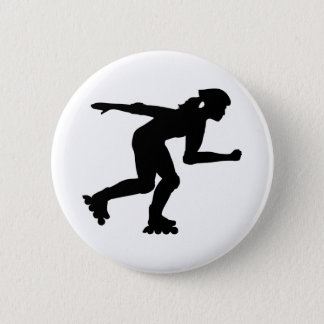 Inline skating girl pinback button