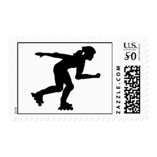 Inline skating girl postage