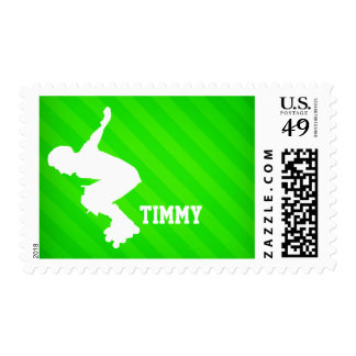 Inline Skating; Neon Green Stripes Postage