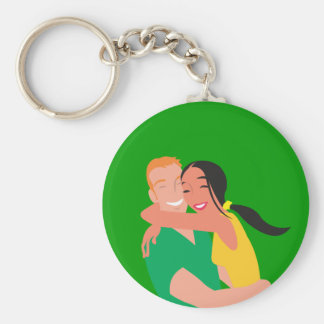 inlove_Vector_Clipart love dating man woman Basic Round Button Keychain