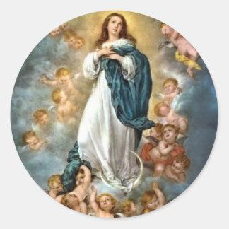 Inmaculada Concepción de Maria Etiqueta Redonda