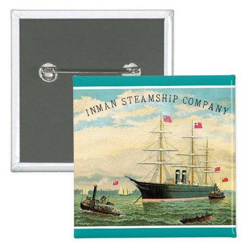 Inman Steamship Company Pin Cuadrada 5 Cm