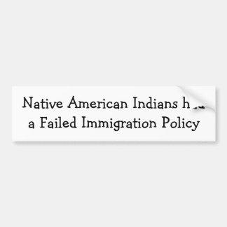 Inmigración del nativo americano pegatina de parachoque