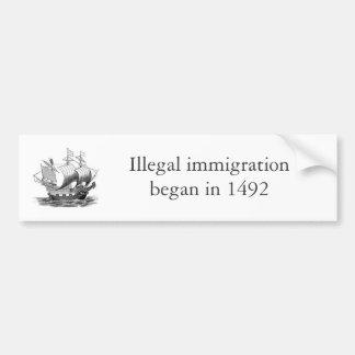 inmigración ilegal 1492 pegatina de parachoque