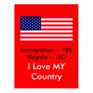 Inmigración -- SÍ ilegal -- NINGUNA bandera de los Postales