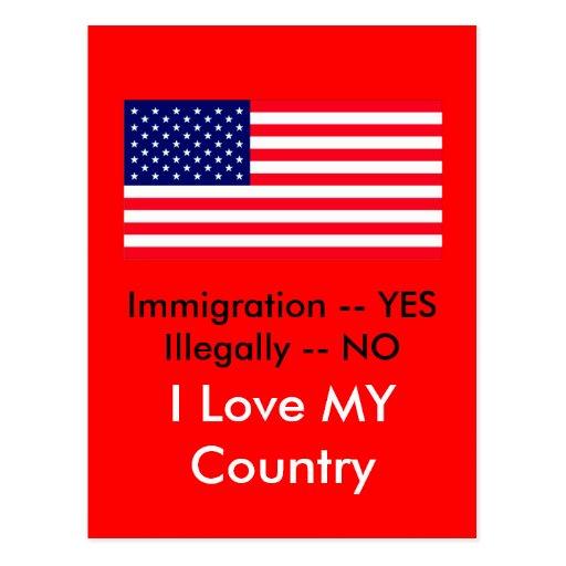 Inmigración -- SÍ ilegal -- NINGUNA bandera de los Postal
