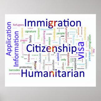 Inmigración y texto relacionado de la ciudadanía póster