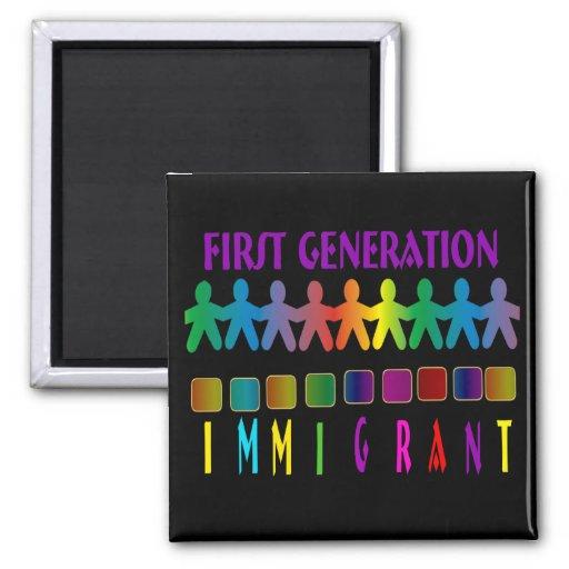 Inmigrante de la primera generación imán cuadrado