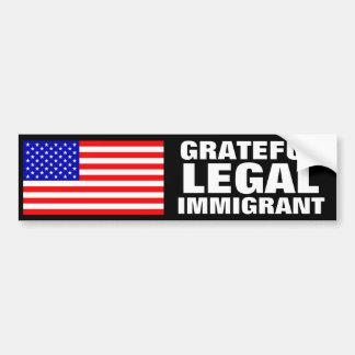Inmigrante legal agradecido pegatina para auto